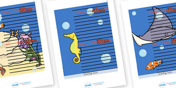 Under The Sea Themed Height Chart - education, home school, free