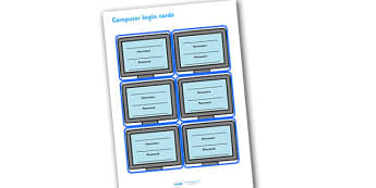 Pupil Computer Login Details Cards - pupil computer login details cards, pupil, computer login, login, computer, laptop, details cards, ICT