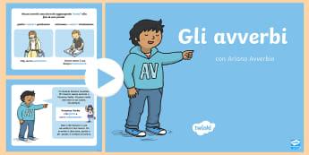 Gli Avverbi Presentazione - gli, avverbi, powerpoint, presentazione, grammatica, italiano, italian, italiana