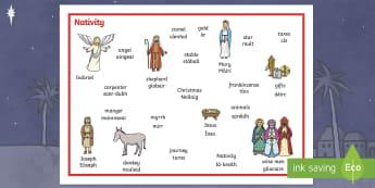 CfE Nativity Word Mat   Scottish Gaelic Word Mat-Scottish