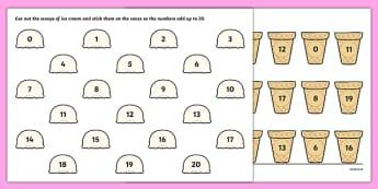 Ice Cream Number Bonds to 20 Activity Sheet - ice cream, number bonds, 20, activity, worksheet