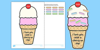 Grandma I Love You with a Cherry on Top Activity Sheet, worksheet