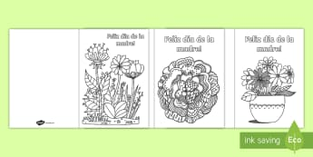 Mother's Day Mindfulness Colouring Cards - Spanish, KS2, vocabulary, mother's, day, mindfulness, colouring, cards, pages, gift, present