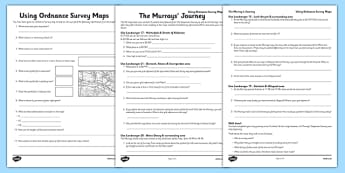 Using Ordnance Survey Maps Activity Sheet Pack - The Desperate Journey - using ordnance, survey maps, activity, sheets, worksheet