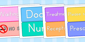 Doctors Surgery Signs - doctors role play, prop, roleplay, doctor