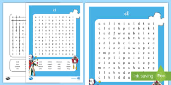 'cl' Consonant Blend Differentiated Word Search - reading, spelling, grammar, phonics, first class, second class,Irish