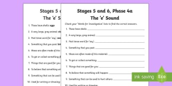 Northern Ireland Linguistic Phonics Stage 5 and 6 Phase 4a, 'e' Sound Word Work Activity Sheet - Linguistic Phonics, Stage 5, Stage 6, Phase 4a, Northern Ireland, 'e' sound, word work, anagrams