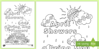 April Showers Bring May Flowers Mindfulness Colouring Page - April Showers Bring May Flowers, mindfulness, spring, seasons, weather, growing plants, colouring in