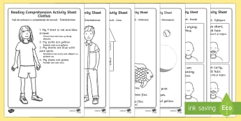 Reading Comprehension Activity Sheets English/Romanian