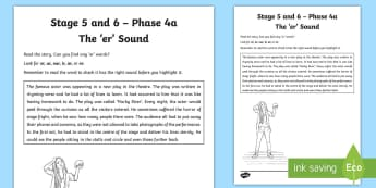 Northern Ireland Linguistic Phonics Stage 5 and 6 Phase 4a 'er' Activity Sheet  - NI, Worksheet, sound search, text