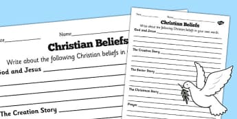 Christian Beliefs Differentiated Worksheets - worksheet, beliefs