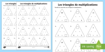 Feuille d'activités : Triangles de multiplications pour tables de 3, 4 et 8 - Mathématiques, Maths, cycle 2, cycle 3, KS2, multiplications, multiplications à trous, triangles,