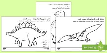 نشاط تلوين الديناصورات حسب الأعداد  - نشاط، التلوين حسب الأعداد، تطوير فهم الأعداد والألوان