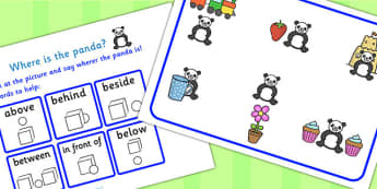 Where Is The Panda Preposition Game - animals, games, puzzles, prepositions