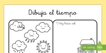 Dibujar el tiempo Ficha de actividad - el tiempo, dibujar, sol, lluvia, soleado, estaciones, nubes, nublado, Spanish