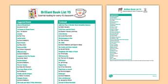 Brilliant Book List Y5
