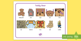 Teddy Bears Word Mat - EYFS, Early years, key stage 1, KS1, toys, teddy bears, reading, writing, literacy, english.