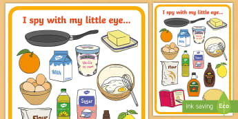 Pancake Day Themed I Spy Activity - pancake day, shrove tuesday, spot the object, see, spy, Eye spy, i spy
