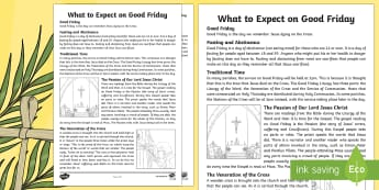 What to Expect on Good Friday Activity Sheets  - NI, Easter, Good Friday, Holy Week, Catholic, veneration of the cross, fasting, church, cross, Stati