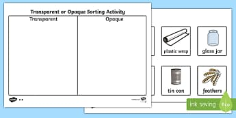 Transparent Or Opaque Sorting Activity - transparent, not transparent, sorting, activity, science, matching cards, sorting cards, investigation
