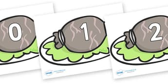 Numbers 0-31 on Haggis - 0-31, foundation stage numeracy, Number recognition, Number flashcards, counting, number frieze, Display numbers, number posters