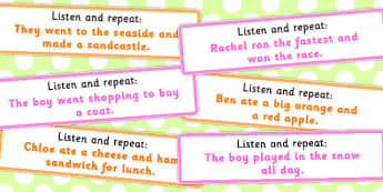Listen and Repeat 8-9 Word Length Sentence Cards - listen, repeat