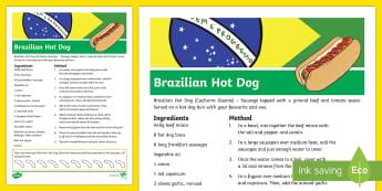 Brazilian Hot Dog Recipe-Australia - RIO Olympics, paralympics, brazilian hot dogs, brazilian food, cooking, recipe card, fun, activity,