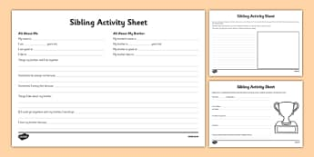Siblings Activity Sheet, worksheet