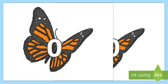 Numbers 0-20 on Butterflies - numbers, display, 0-20, butterflies, minibeasts, butterfly, maths, mathematics