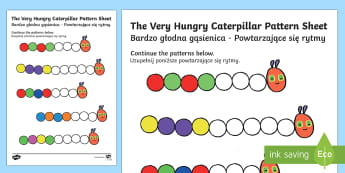Pattern Colouring Activity Sheet to Support Teaching on The Very Hungry Caterpillar English/Polish - number work, home school, theme, the very hungry caterpilar, hungary caterpillar, colering, patterms