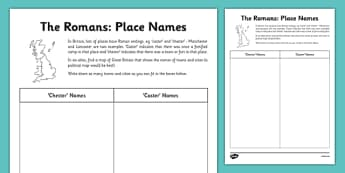 Roman Place Names Worksheet - roman, place names, worksheet, rome