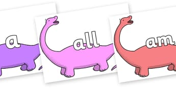 Foundation Stage 2 Keywords on Apatosaurus to Support Teaching on Harry and the Bucketful of Dinosaurs - FS2, CLL, keywords, Communication language and literacy,  Display, Key words, high frequency words, foundation stage literacy, DfES Letters and S