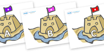 A-Z Alphabet on Sand Castles - A-Z, A4, display, Alphabet frieze, Display letters, Letter posters, A-Z letters, Alphabet flashcards
