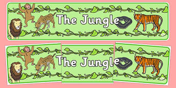 The Jungle Display Banner - Jungle, Rainforest, Topic, Display, Posters, Freize, vines, A4, display, snake, forest, ecosystem, rain, humid, parrot, monkey, gorilla