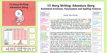 Y2 Story Writing: Adventure Model/Example Text - Example Texts Y2, Story Writing, Adventure, Story, WAGOLL, exemplar, fiction, text, text features, ARE, age-related example, model, model text, age-related model