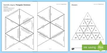 Scientific Inquiry Tarsia Triangular Dominoes - Tarsia, Dominoes, Practical, Scientific Inquiry, Method, Results, Conclusion, Evaluation, Investgati, plenary activity