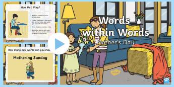 KS1 Words Within Words Game Mother's Day PowerPoint - KS1 Mother's Day UK (26.3.17), words within words, word building, blending, sounds, letter identifi