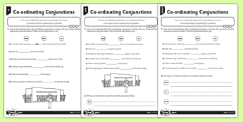 Coordinating Conjunctions Differentiated Activity Sheet Pack - Connectives, worksheet