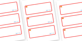 Spain Themed Editable Drawer-Peg-Name Labels (Blank) - Themed Classroom Label Templates, Resource Labels, Name Labels, Editable Labels, Drawer Labels, Coat Peg Labels, Peg Label, KS1 Labels, Foundation Labels, Foundation Stage Labels, Teaching Labels