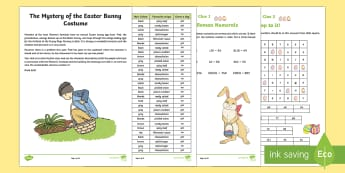 LKS2 The Mystery of the Easter Bunny Costume Game - LKS2, lower key stage 2, KS2, maths, problem solving, mystery game, Easter game, maths skills, multi
