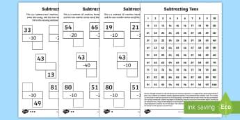 Subtracting Tens Activity Sheets - year 2, maths, homework, place value, subtracting tens, worksheets, tens, subtraction, take away,