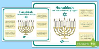Hanukkah Large Information Poster KS2 - hanukkah, poster, ks2