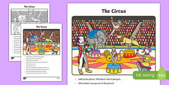 The Circus Oral Language Activity Sheet-Irish, worksheet