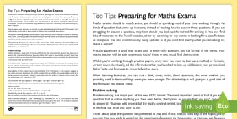 Preparing for Your Maths Exams Top Tips Pack - Learning Formulae, Problem Solving, Revision, Revising, GCSE, GCSE preparation