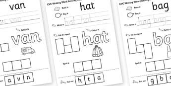 CVC Writing Word Activity Sheet Pack A - CVC, writing, word, activity, sheets, activity sheets, reading and writing, colouring, vowels, A, worksheet