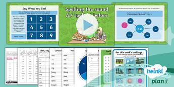 PlanIt Y2 Term 1A W3: /s/ Spelt 'ce', 'ci', 'cy' Spelling Pack