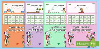 April Phonics Activity Calendar Powerpoint Pack - Phonics, Monthly, Activity Calendars, joke, jester, clown, April fool, blend, segment
