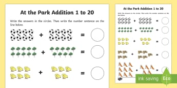 At the Park Themed Addition Sheet 1-20 - at the part, themed, addition, sheet, 1-20