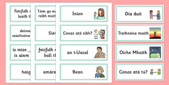 Greetings Flashcards Gaeilge - gaeilge, greetings, flashcards, flash cards