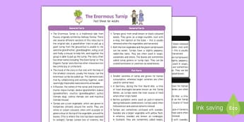 The Enormous Turnip Fact Sheet for Adults - EYFS, Early Years, KS1, fairy tales, traditional stories, vegetables, farm
